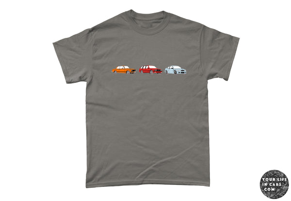 BMW 2002i, BMW 3 series E30, BMW M3 E46 t-shirt, your life in cars, my life in cars, car t-shirt