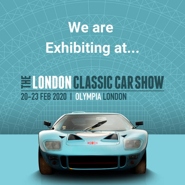 the london classic car show logo poster flyer 2020 ford mustang