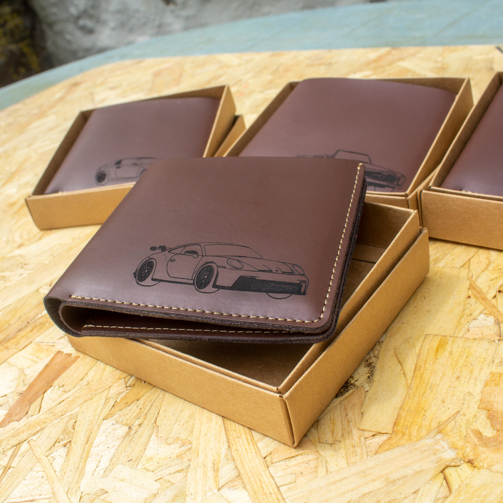 Engraved leather wallet featuring an engraved drawing of your car by your life in cars
