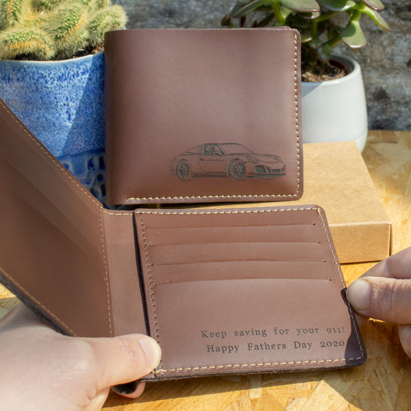 Under the hood™ personalised leather wallet dark tan for Fathers Day