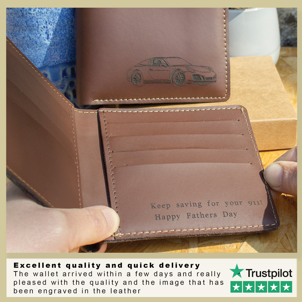 laser engraved wallet for Fathers day engraved with a car of your choice and personalised message on the inside