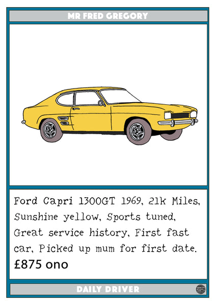 Ford Capri 1300GT 1969, 21k Miles, Sunshine yellow, Sports tuned, Great service history, Car artwork framed, Daily driver