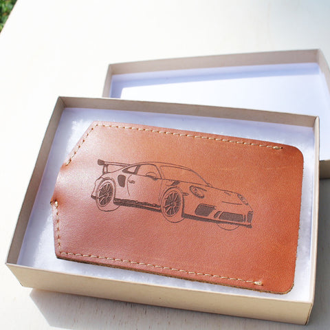 Personalised Leather Car Key Pouch light tan