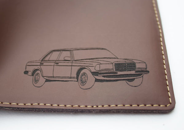 Your car and message engraved on a Leather dark tan wallet