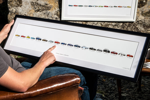 mans car history framed artwork. drawing of an ac cobra. drawing of an alfa romeo alfetta.  drawing of an bmw alpina b12. drawing of a range rover sport. drawing of an aston martin db5. drawing of a citroen 2cv. your car timeline. my life in cars. car gift. car gift ideas for him. car gift for christmas  carvolution, your life in cars  Framed artwork, personalised car artwork, my life in cars gift, bespoke car gift, my first car, my life in cars  made to order gift, illustrated car history
