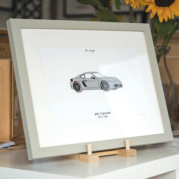 Framed Porsche artwork, personalised car artwork, my life in cars, your life in cars, bespoke car gift, my first porsche, porsche personalised artwork, car gift for christmas