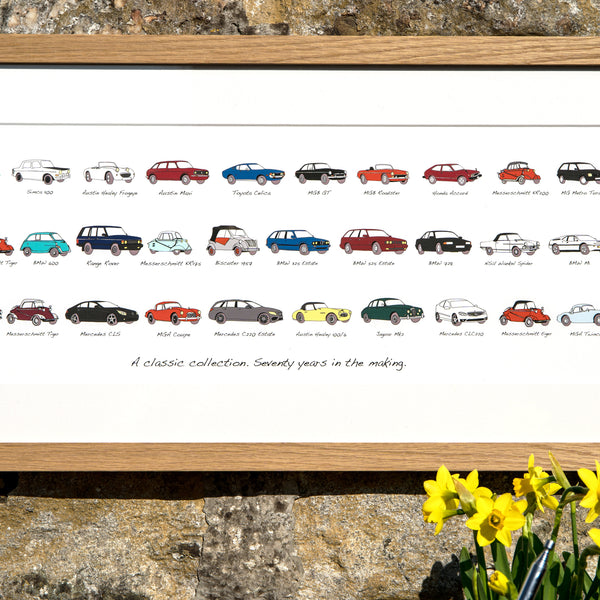 car history picture in an oak frame. drawings of a persons car history. biscuter car 1957 drawing. messerschmitt drawing. messerschmitt tiger drawing. bmw m1 drawing. wankel spider. bmw 600. car drawings in colour.