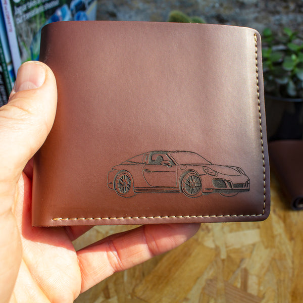 Porsche targa laser engraved leather wallet