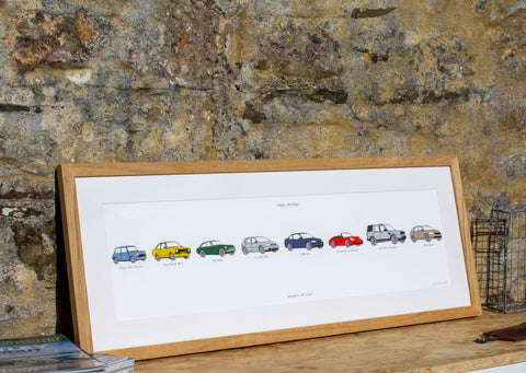 Framed print of my cars, classic Mini cooper blue, Ford escort mk2 plastic bumpers car, Yellow escort mk2, MG MGB british racing green, drawing of golf mk4 silver, blue bmw 316i, red porsche convertible, porsche 911 cabriolet C4, red porsche soft top, land rover discovery 4, picture of land rover discovery, print of a land rover discovery, skoda superb print, beige skoda