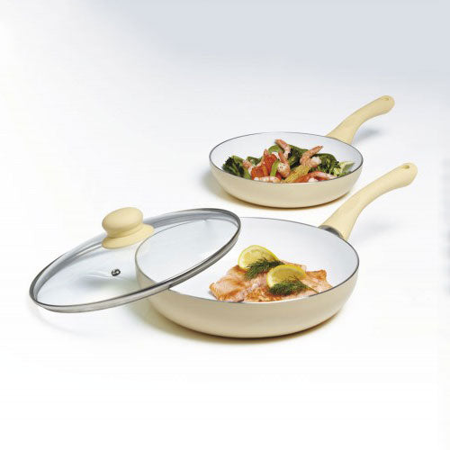 2 Piece Ceramic Frying Pan Set Plus Large Pan Glass Lid Cream