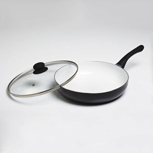 Large Ceramic Frying Pan with Glass Lid Black