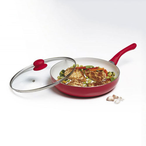 Large Ceramic Frying Pan with Glass Lid