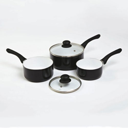3 Piece Ceramic Saucepan Set Plus 2 Glass Lids, Black