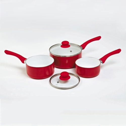 3 Piece Ceramic Saucepan Set Plus 2 Glass Lids