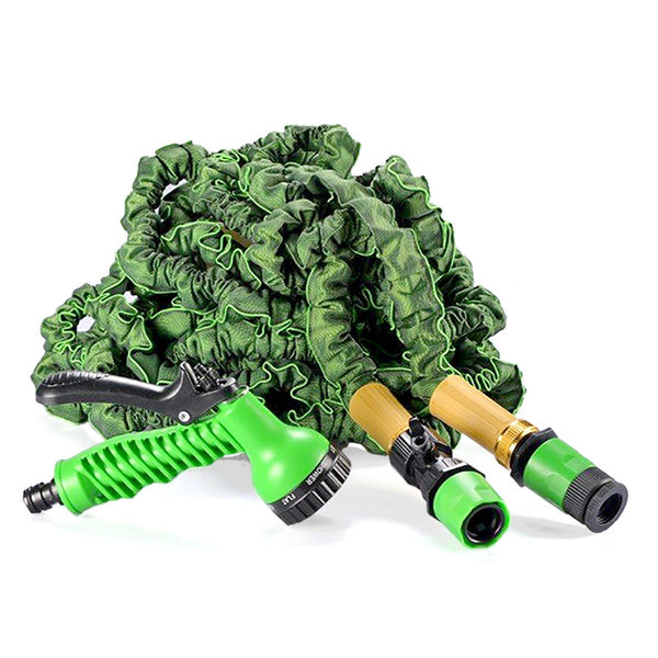 Flex Hose Pipe with Spray Gun in Green (7.5m / 25ft)