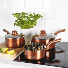 Cermalon Copper 3 Piece Sauce Pan Set With Two Glass Lids