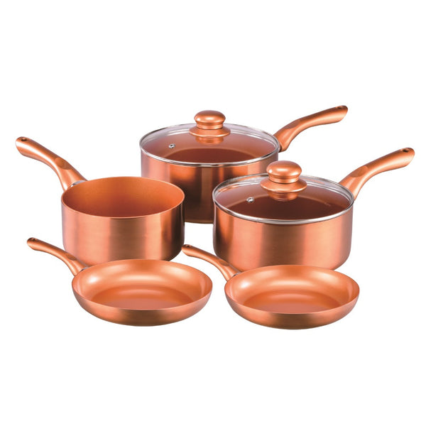 Cermalon Copper 5 Piece Cookware Set With Two Glass Lids