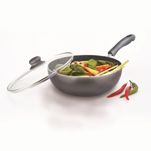 Durastone Large 28cm Wok with Glass Lid Charcoal Grey