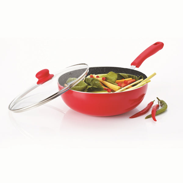 Durastone Large 28cm Wok with Glass Lid Red.