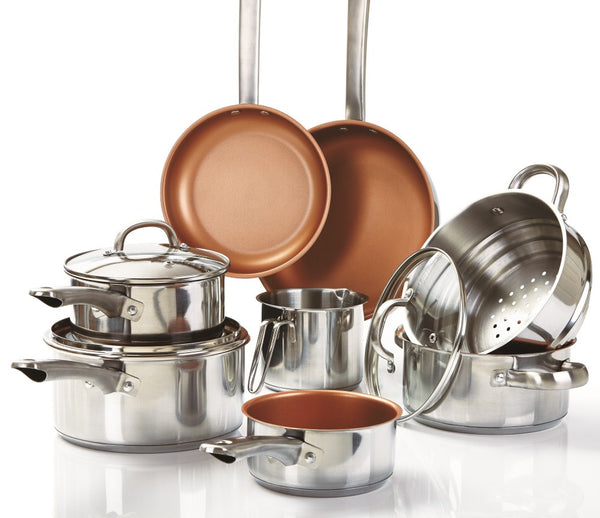 Cermalon 8 Piece Stainless Steel Non-Stick Copper Pan Set with 3 Glass Lids