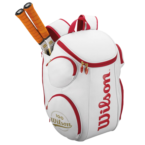100 Year Tour Large Tennis Backpack White and Red