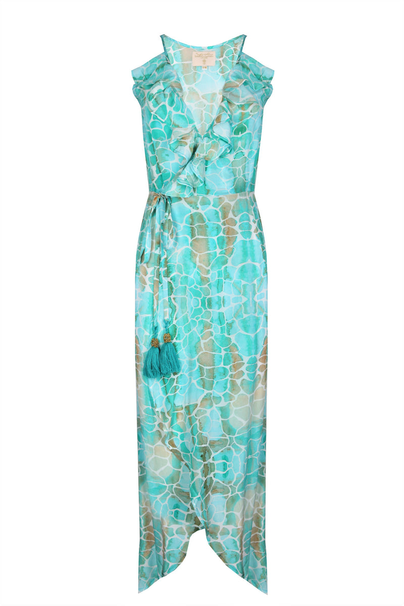 AQUA PEBBLES COCKTAIL MIDI WRAP DRESS