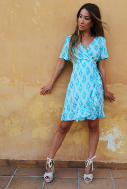 AQUAMARINE DREAM MINI RUFFLE WRAP DRESS