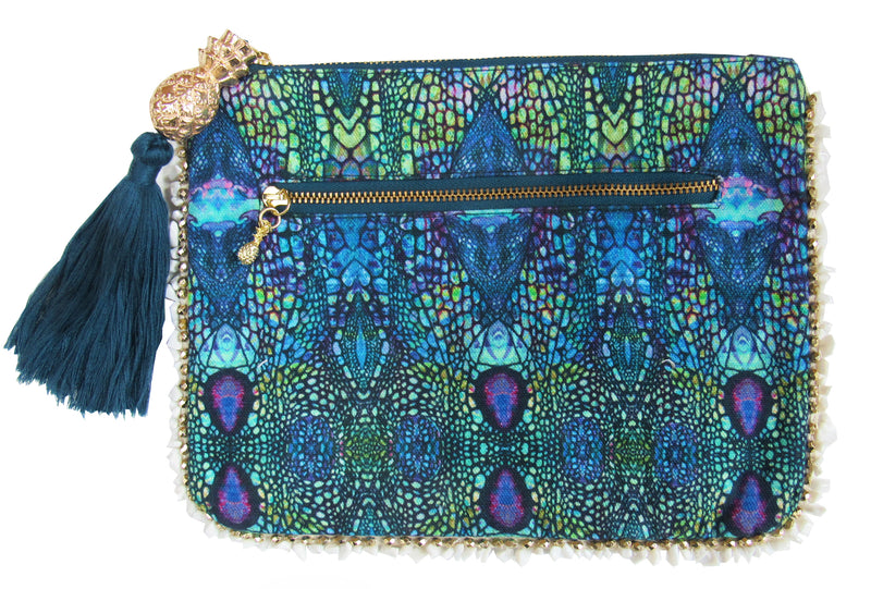 BLUE IGUANA CLUTCH BAG