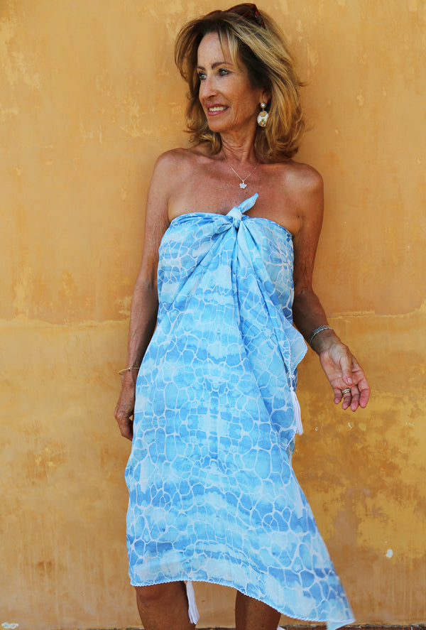 BLUE PEBBLES COTTON SARONG