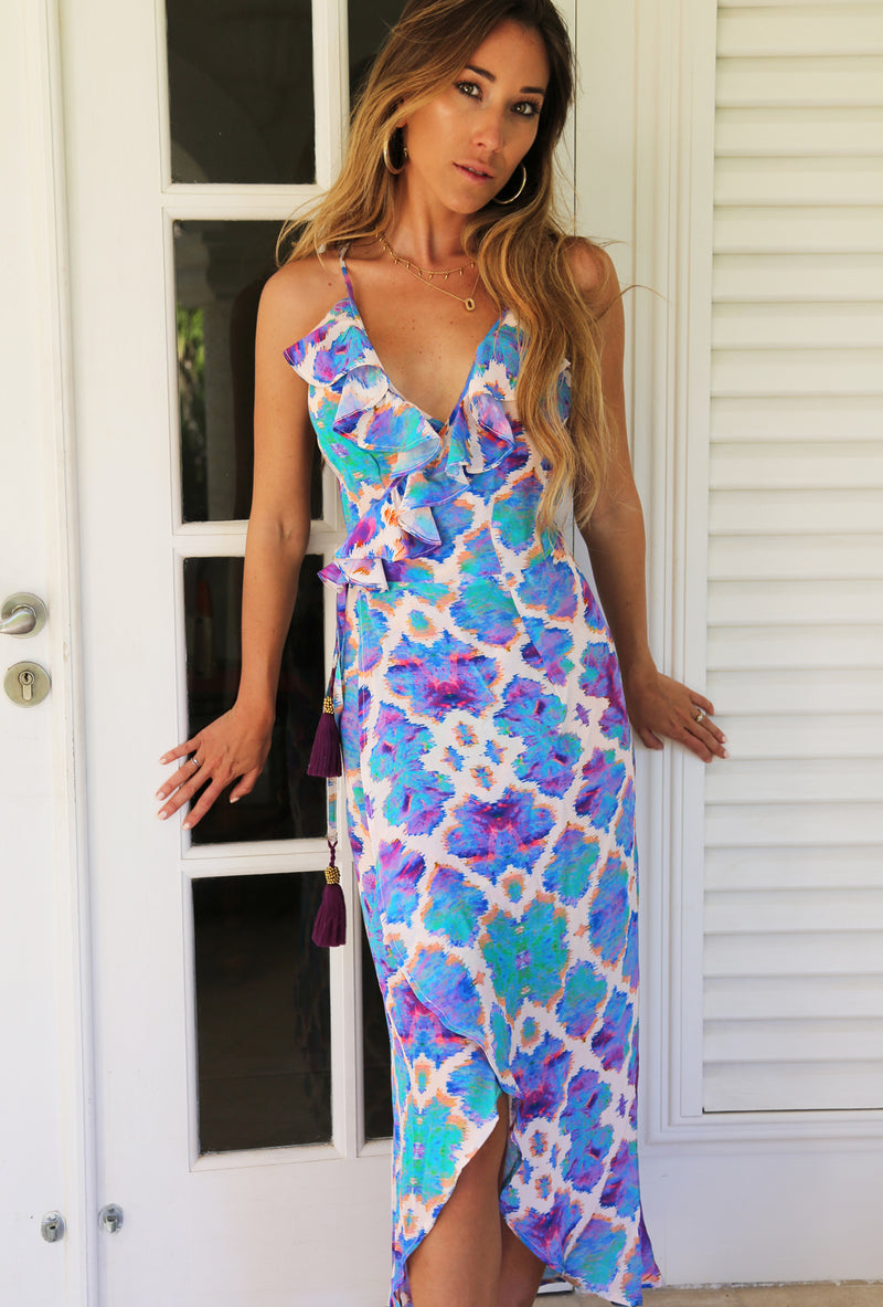 ORCHID PARADISE COCKTAIL MIDI WRAP DRESS