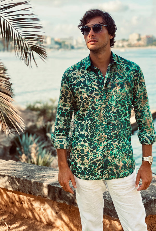 EMERALD LEOPARD MENS SHIRT