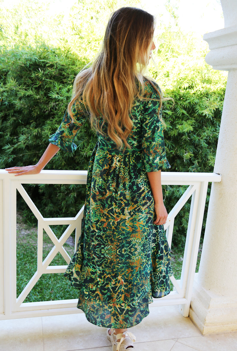 EMERALD LEOPARD MIDI WRAP DRESS