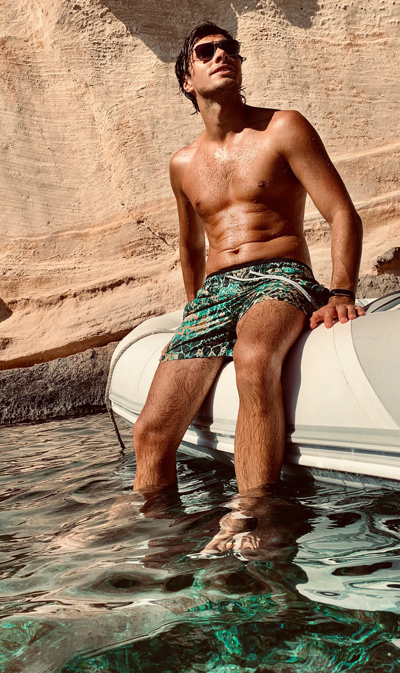 EMERALD LEOPARD MENS SWIM SHORTS