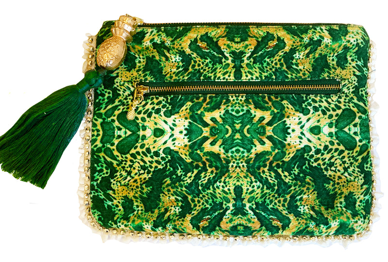 EMERALD LEOPARD CLUTCH BAG