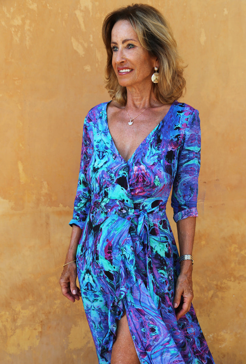 INTO THE DEEP RUFFLE WRAP DRESS