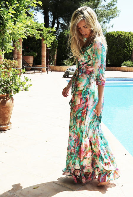 CARIBBEAN DREAM RUFFLE WRAP DRESS