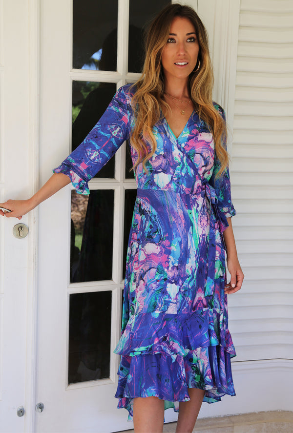 OCEAN CURRENT MIDI WRAP DRESS