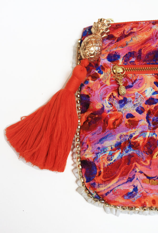 PINK FIRE CLUTCH BAG