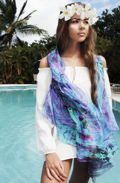 INTO THE DEEP LONG SILK SCARF