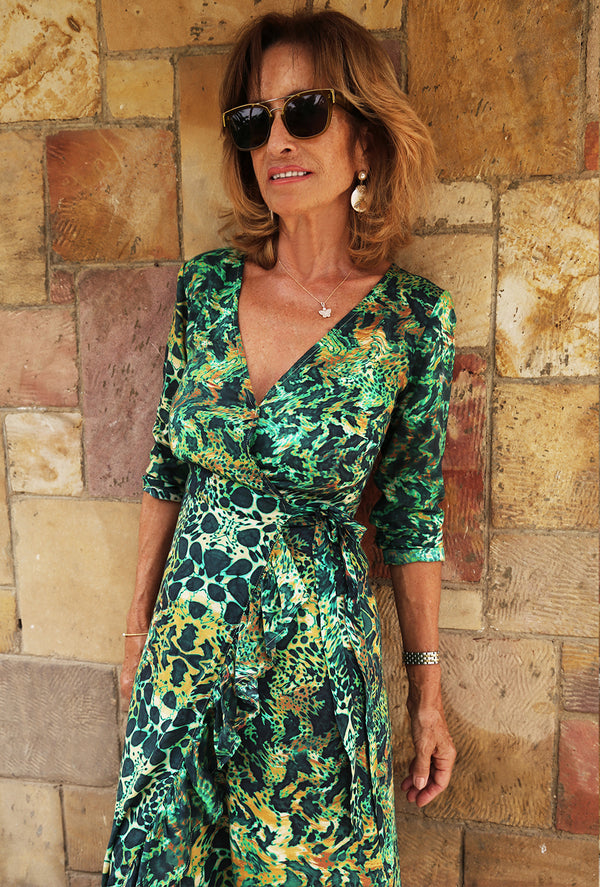 EMERALD LEOPARD RUFFLE WRAP DRESS