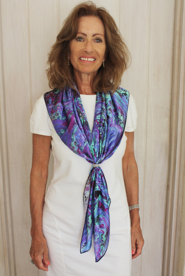 INTO THE DEEP SILK SQUARE SCARF