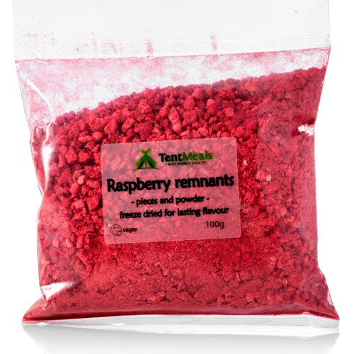 Freeze dried raspberry remnants, 100g