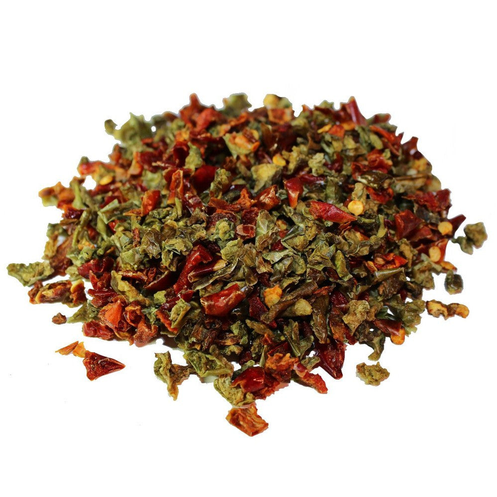 Red and green dried bell peppers