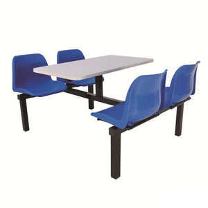 Canteen table with blue chairs