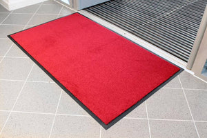 Red entrance barrier door mat