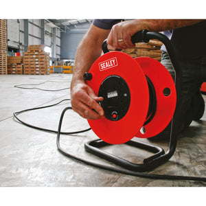 extension cable reel in warehouse