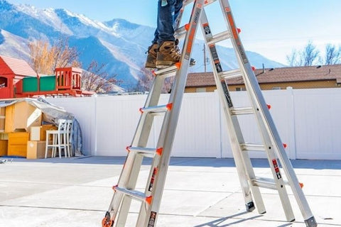 Ladder in use