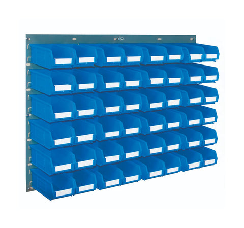 Louvre Panel and Parts Bin Kit with 48 TC2 Bins blue horizontal