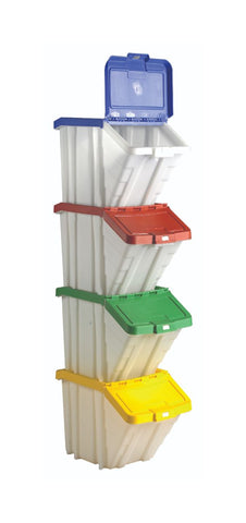 Multi-function Chute Front Storage Containers 4 Pack mixed colour