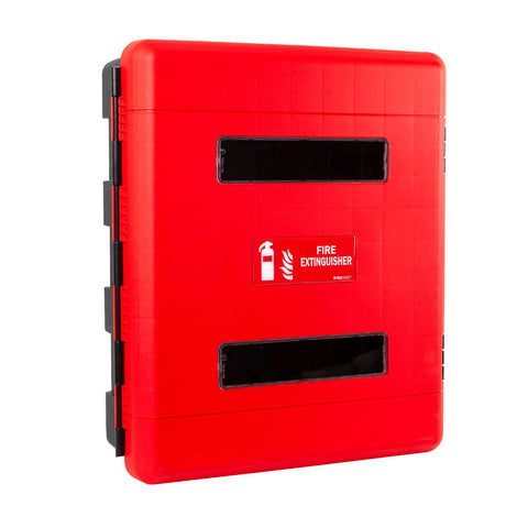 Double 9 Ltr/Kg Fire Extinguisher Cabinet with Seal Latch